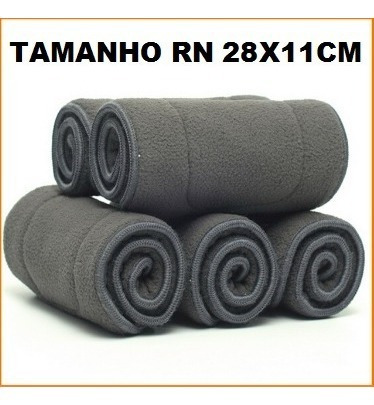 Absorvente Fralda Ecológica Carvão Bambu 5 Camadas Tam Rn