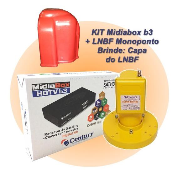 Receptor Digital Midia Box B3 Lnbf Monoponto Banda Estendida Superdigital - Brinde A Capa Do Lnbf.