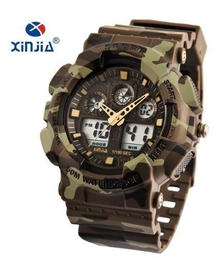 Relógio Masculino Verde Camuflado Digital Xinjia + Promoção