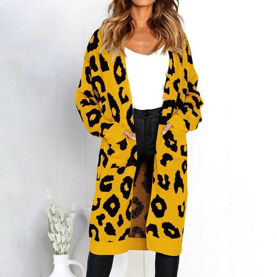 Autumn Women Long Knitted Cardigan Sweater Leopard Print
