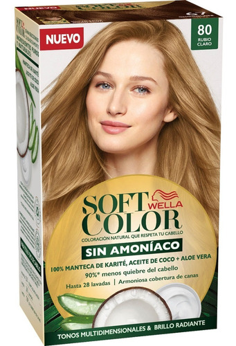 Tintura Wella Sin Amoniaco Kit Soft Color 80 Rubio Claro