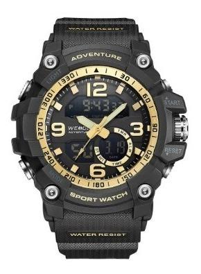 Relógio Masculino Weide 8001 Preto Dourado Na Caixa Com Nf
