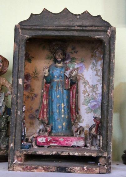 Antiguo Retablo- Hornacina De Santo - Bolivia - Colonial