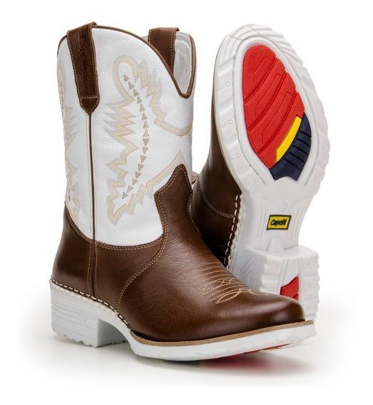 Bota Masculina Country Texana Bico Redondo Em Couro Nobre
