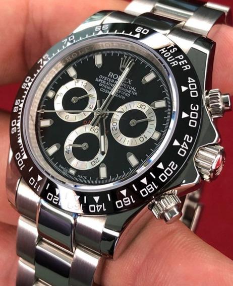 Relógio Rolex Prata E Preto +caixa + Manual