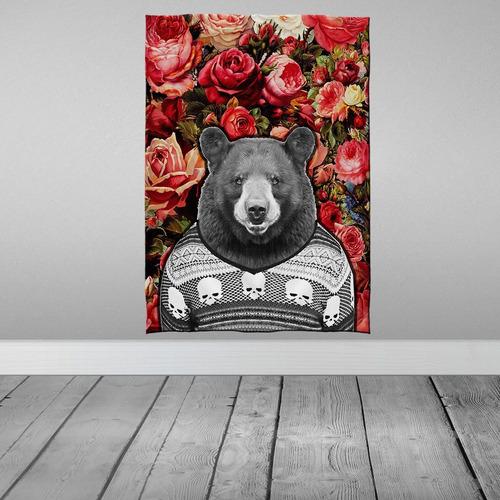 Imagem 1 de 3 de Stompy Bandeira Decorativa Decoração Urso Flores Floral Bear