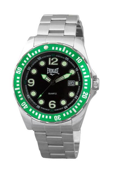 Relógio Pulso Everlast Masculino Aço Calendário Verde E473a