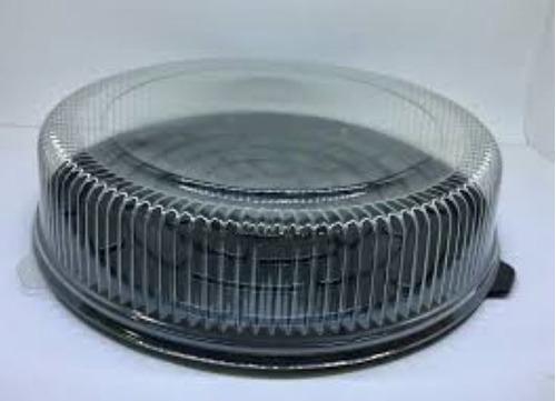 Imagen 1 de 1 de Campana Base Negra Y Domo Cristal Para Torta 28cm X 12cm