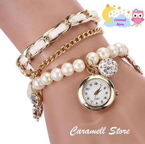 Reloj Pulsera Vintage Hermoso Mujer Stock