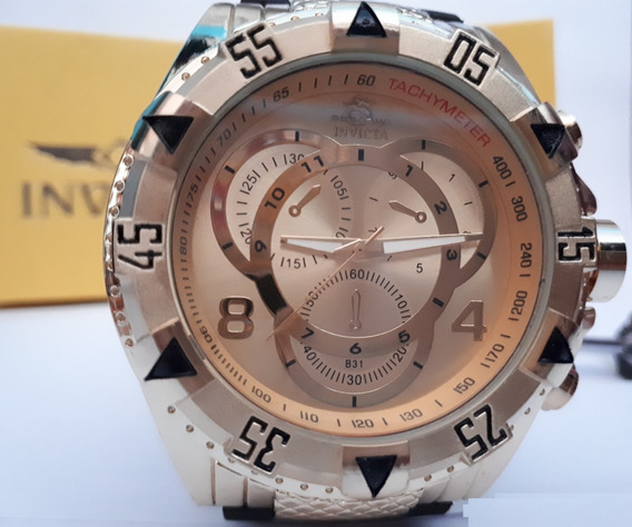 Relógio Masculino Grande Pesado Dourado Pulseira De Borracha