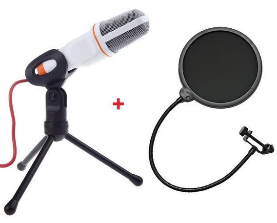 Microfone Condensador Sf-666 Estudio Pc Branco + Pop Filter