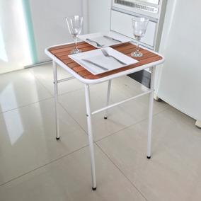 Mesa Pequena Para Cozinha De Apartamento Tampo De Madeira