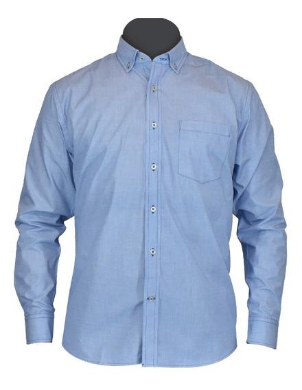 Camisa De Vestir Manga Larga Azul Moderna Caballero Arie Mar
