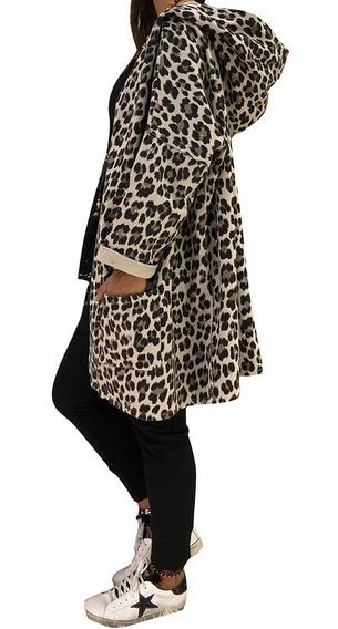 Abrigo Con Encapuchado Invierno Mujeres Impresión Leopardo