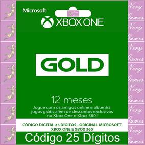 Xbox Live Gold 12 Meses Código 25 Dígitos Em 12x