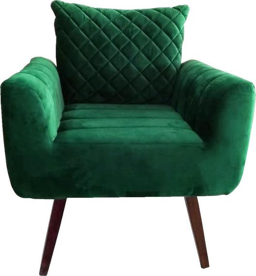 Poltrona Decorativa Veludo Verde Bordada Jany