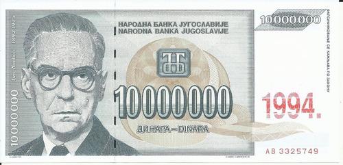 Imagen 1 de 2 de Yugoslavia 10000000 Dinara 1994