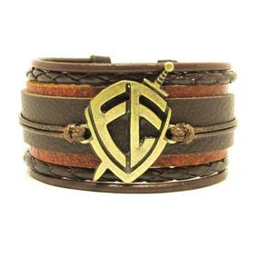 Pulseira Bracelete Escudo Fé Marrom Couro Style Frete Grátis