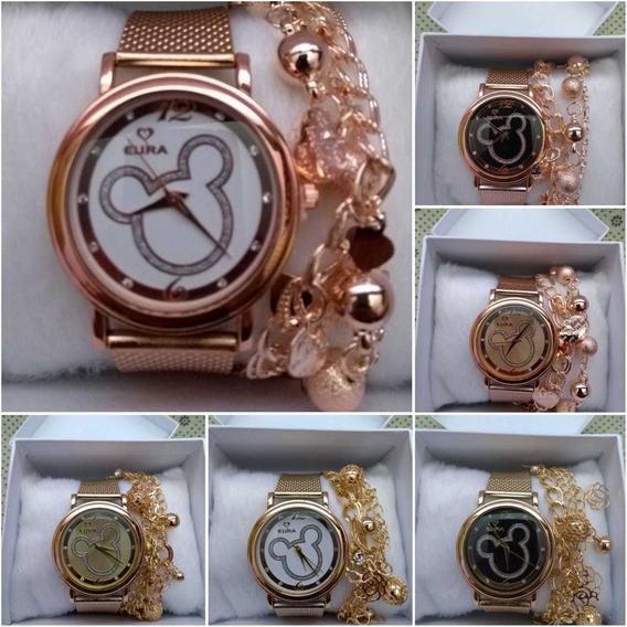 Relógio Feminino Fecho Fivela + Pulseira &caixa -kit 10 Und.