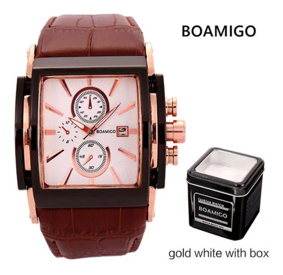 Relógio Puro Luxo De Couro Importado