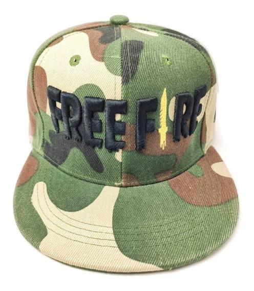 Gorra Snapback Free Fire Adultos Gamer Camuflaje Negro Envío