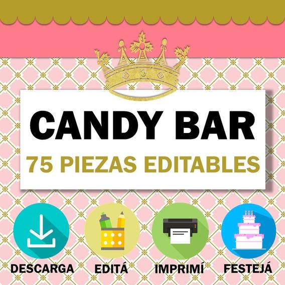 Kit Imprimible Coronas Candy Bar Editable Princesas Dorado