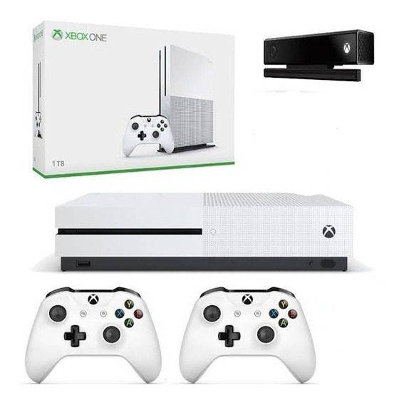 Xbox One S 1 Tb C\ 2 Controles + Kinect 2.0 + Suporte Tv