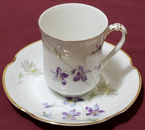 Taza De Chocolate Con Plato Porcelana Francesa Limoges