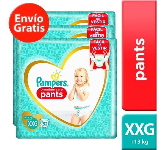 3 Paquete Pañales Pampers Pants Premium Care 144 U Talla Xxg