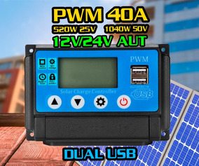Controlador Carga Pwm 40a Energia Solar Painel Fotovoltaico