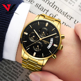Relógio Nibosi Masculino Dourado Funcional E Calendário