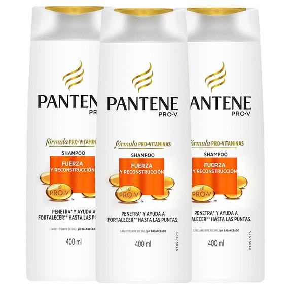 Pack 3 Shampoo Pro-v Fuerza Y Reconstrucción Pantene 400ml