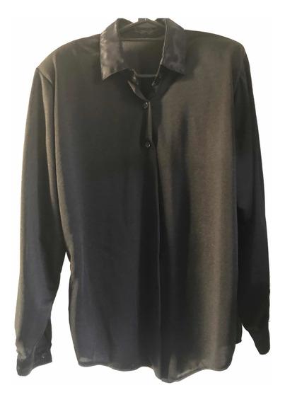 Camisa De Mujer Negra Con Cuello Y Puños En Raso T. L