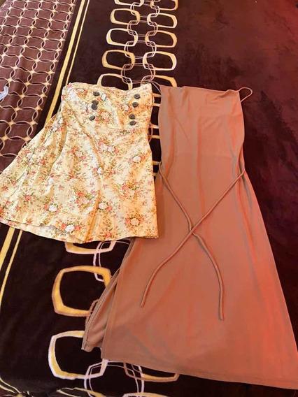 Combo Vestido Color Nude Y Palazzo Corto Con Flores Talla M