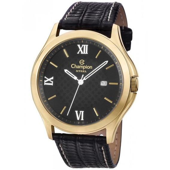 Relógio Champion Dourado Masculino Pulseira Couro Ca21179p