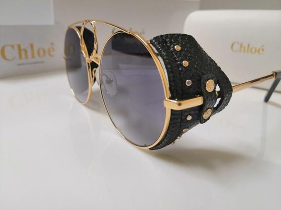 Óculos De Sol Chloé Sierra 148sl 821metal E Couro Preto