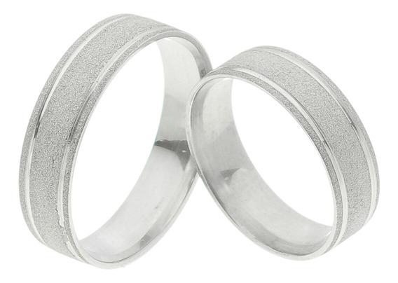 Par De Aliança Prata Diamantada Dois Frisos Liso Central 6mm
