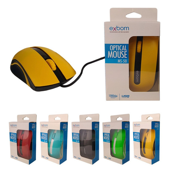 Mouse Usb Óptico 1000dpi Color 3d Exbom Ms-50 Pronta Entrega