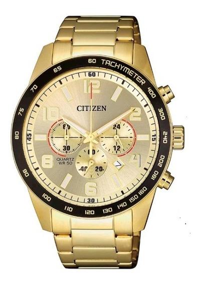 Relógio Citizen Masculino Dourado Todo Em Aço Tz31454g
