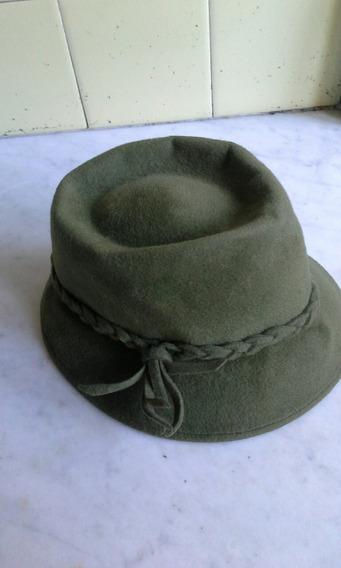 Sombrero De Dama De Fieltro, Verde Seco