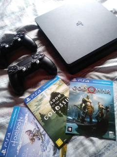 Console Playstation 4 Slim 1tb + 2 Controles E 3 Jogos