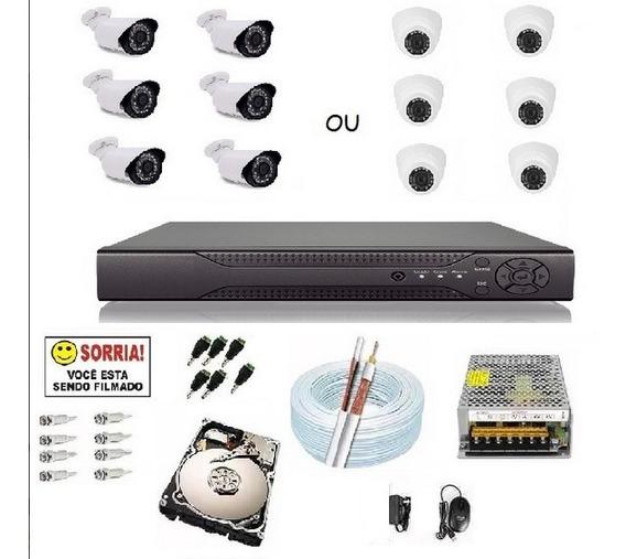 Kit Cftv 6 Câmeras Segurança Infra Hd 720p Dvr 8 Ch Hd 500gb
