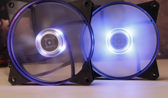 2 Cooler Fan Para Gabinete 120mm Masterfan Led Azul Top