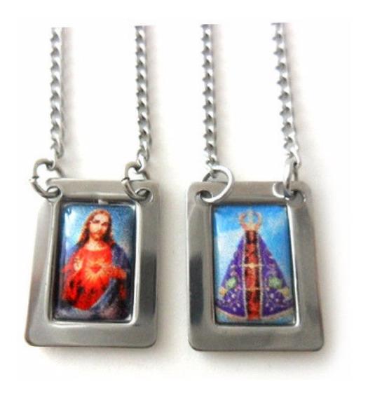 Escapulário Nossa Senhora Aparecida E Sagrado Coração Aço