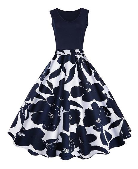 Vestido Cintura Alta Falda Acampanada Estampado Vintage