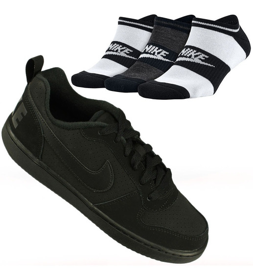 Kit Nike 3 Meias + Tênis Court Borough Low Gs Juvenil Oferta