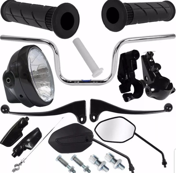 Kit Retrovisor Manopla Guidao Farol Cg 125 Fan 2009 A 2013