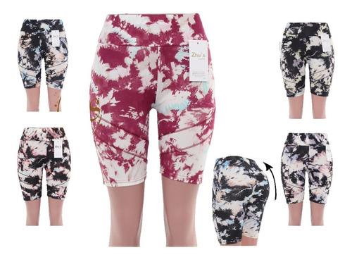 Imagen 1 de 2 de 10 Shorts Lycra Tie Dye Deportivo Dama Unitalla Lote Mayoreo