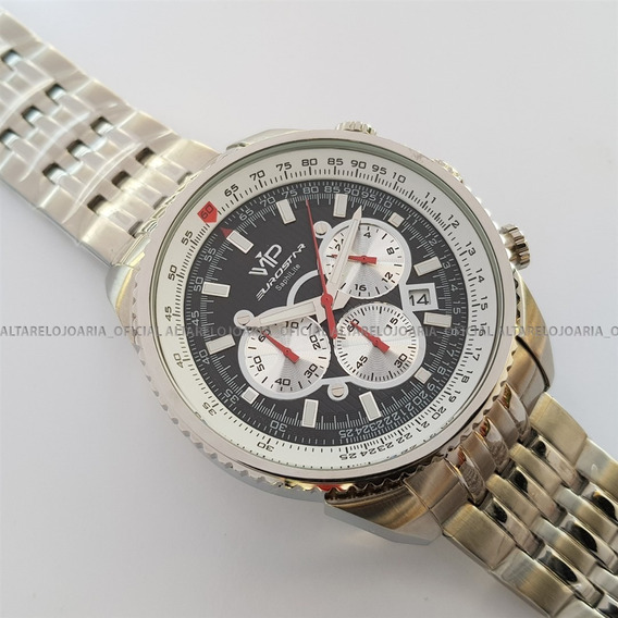 Relógio V I P Mh-8346 1 Cronógrafo Calendário Plaque Aço