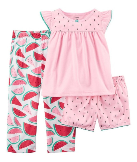 Pijama Infantil 3pçs Melância Carters (rosa, 4)